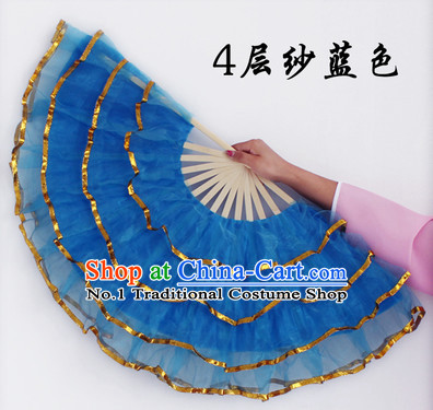 Four Layers Blue Hands Fans