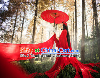 Asian Red Fairy Costumes Complete Set with Long Trails