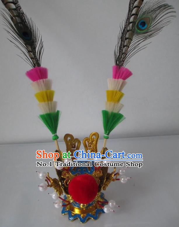 Monkey King Sun Wukong Headwear Coronet with Two Long Feathers