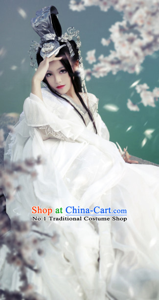 Chinese Traditional White Wedding Kimono Dresses