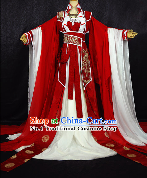 Beautiful Chinese Women Red Fairy Costumes