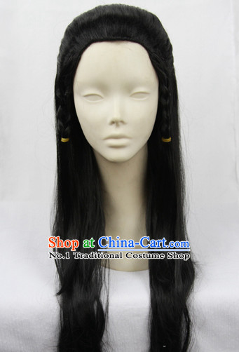 Chinese Guzhuang Black Colour Hair Wigs