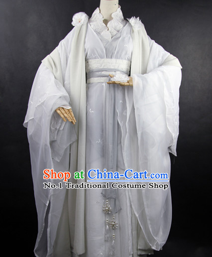 Chinese Fashion White Empress Fur Costumes Full Set