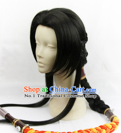 Chinese Fashion Ancient Kung Fu Male Long Black Wig