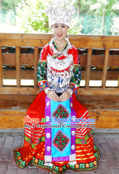 China Hmong Miao Stage Costumes and Hat Complete Set