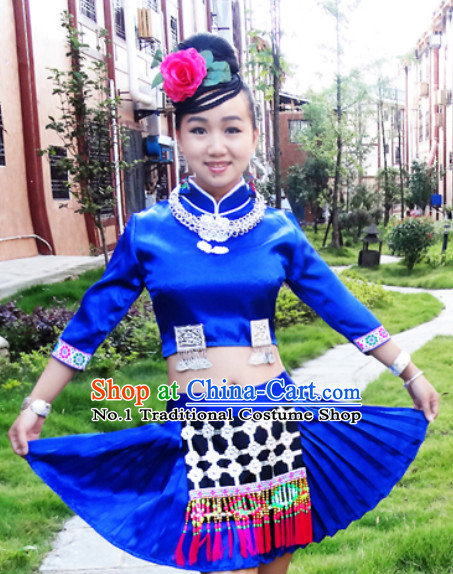 China Hmong Miao Ethnic Costume and Head Pieces for Girls