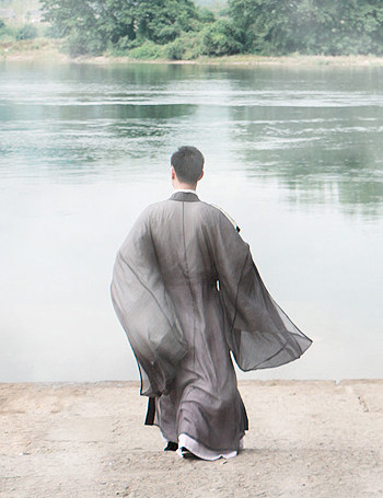 Chinese Traditional Gray Hanfu with Wide Sleeves