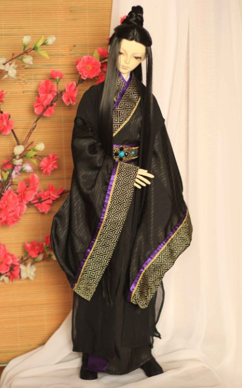 China Black Hanfu Suit Robe for Men