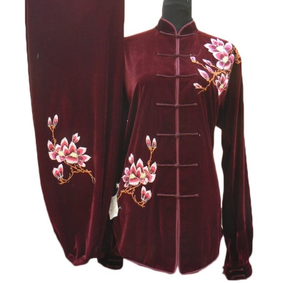 Top Dark Red Velvet Spring Autumn Winter Wear Kung Fu Clothing Complete Set