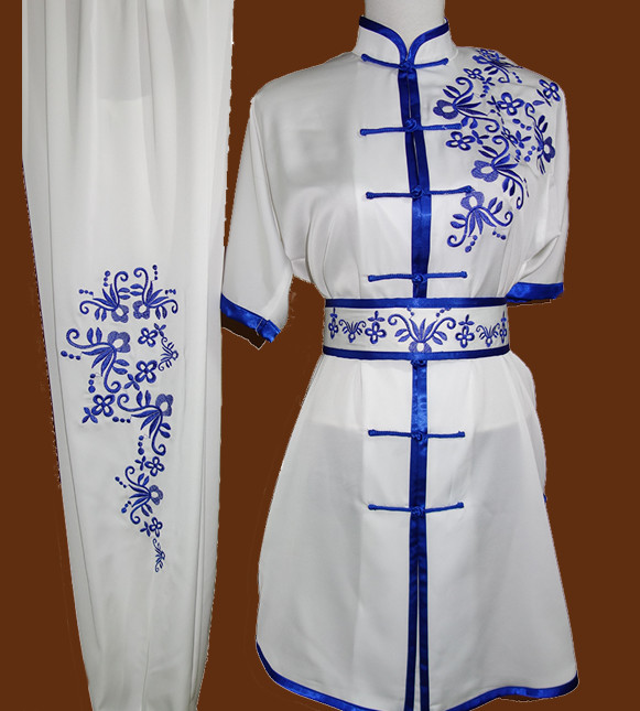 Blue Flower Embroidery Short Sleeves Wushu Uniforms