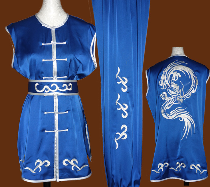 Blue Southern Fist Nanquan Sleeveless Wushu Uniforms