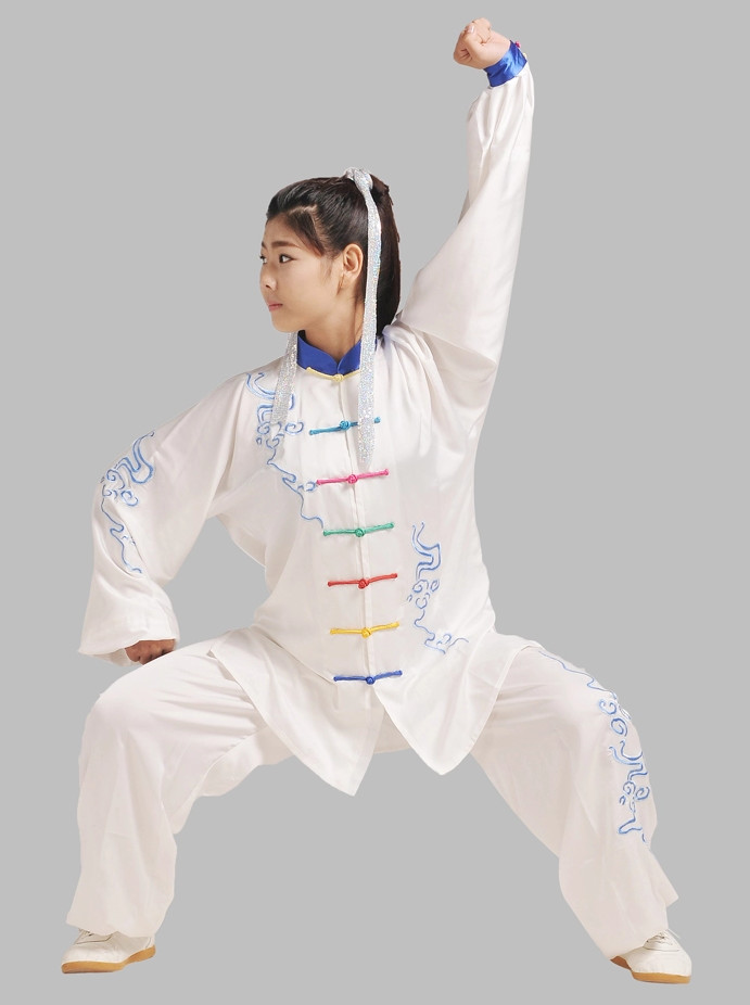 Rainbow Handmade Fabric Buttons Embroidered Martial Arts Competition Uniforms