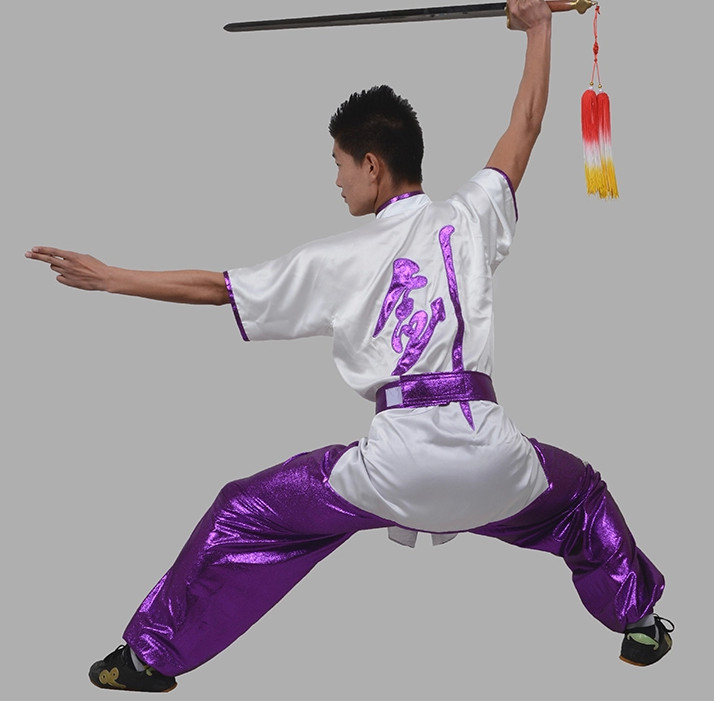 Short Sleeves Chinese Character Sword Kung Fu Uniforms