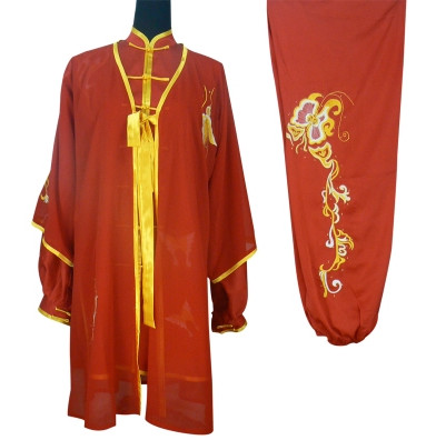 Red Top Tai Chi Championship Uniform and Cape Full Set
