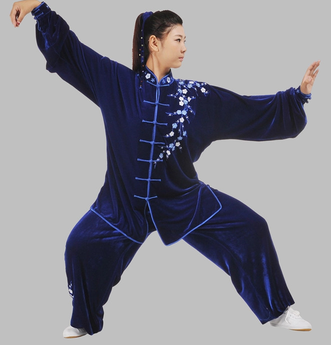 Tradtiional Blue Plum Blossom Embroidery Tai Chi Chuan Competition Suit