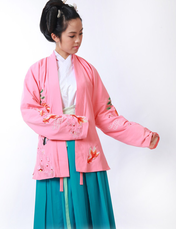Embroidery Goldfish Chinese Traditional Costumes for Girls