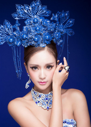 Blue Phoenix Crown Chinese Bridal Wedding Hair Accessories Crown