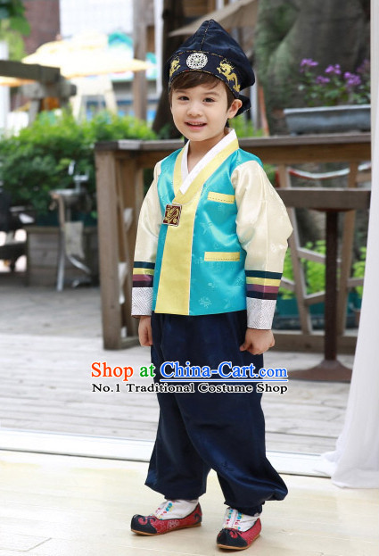 Korean Traditional Hanboks Clothes and Hat for Boys