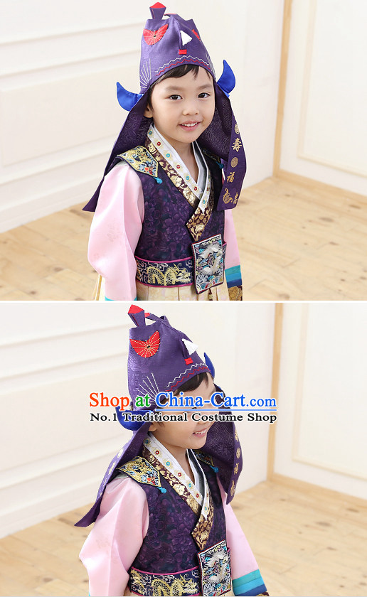 Korean Traditional Ceremonial Birthday Hat for Kids Boys