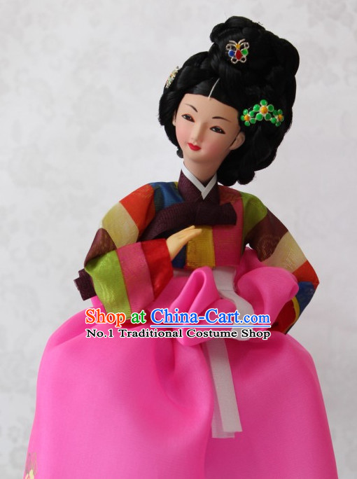 Korean Traditional Hanbok Character Silk Figurine