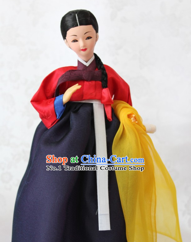 Korean Traditional Handmade Hanbok Silk Statues