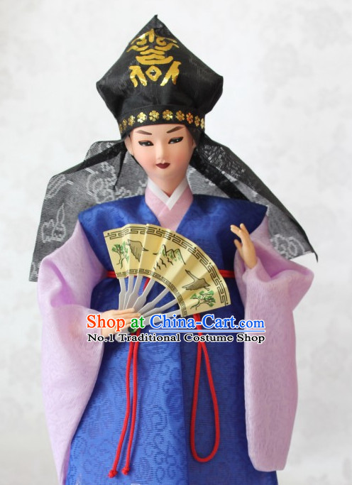 Korean Noblemen Hanbok Silk Figurine