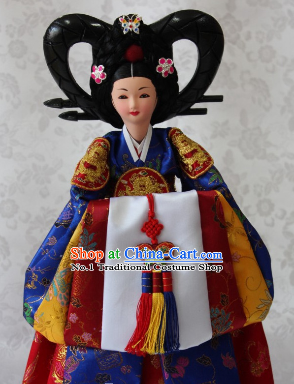 Korean Queen Hanbok Handmade Silk Figurines