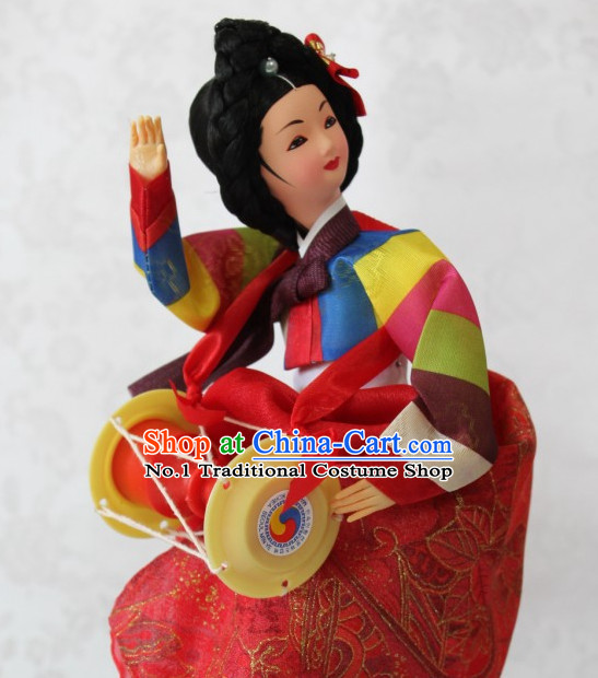 Korean Handmade Hanbok Dressed Folk Silk Figurine