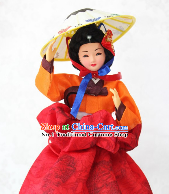 Korean Handmade Hwang Jin Yi Historic Character Silk Figurines