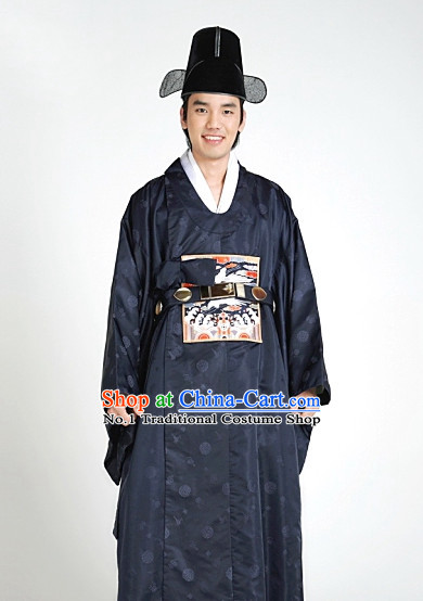 Korean Ancient Official Long Robe and Hat for Men