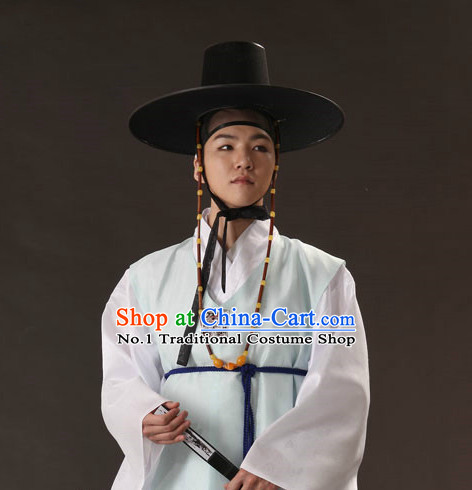 Korean Ancient Scholar Long Robe and Hat for Men