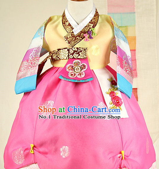 Korean Princess Birthday Hanbok and Hat for Girls