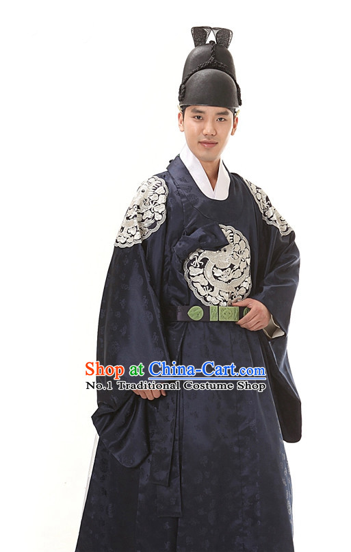 Korean Ancient Imperial Emperor Costumes and Hat for Men