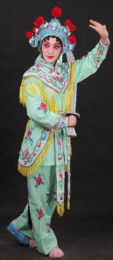Classical China Peking Opera Hua Dan Costume and Hat Complete Set