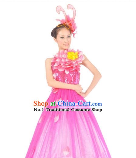 Chinese Flower Contemporary Costumes and Headwear for Women