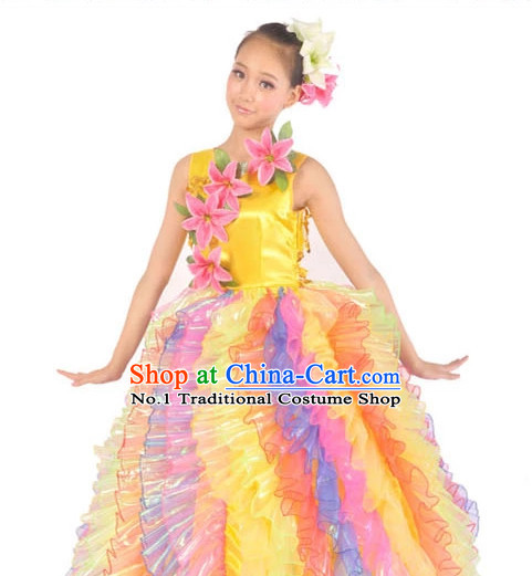 Chinese Stage Dance Costume Contemporary Costumes and Headwear for Women