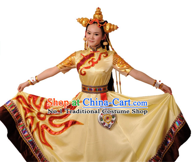China Shop Chinese Tibetan Dance Costumes Dancewear Complete Set for Women