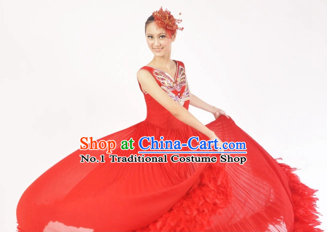 China Shop Chinese Red Dance Attire for Women