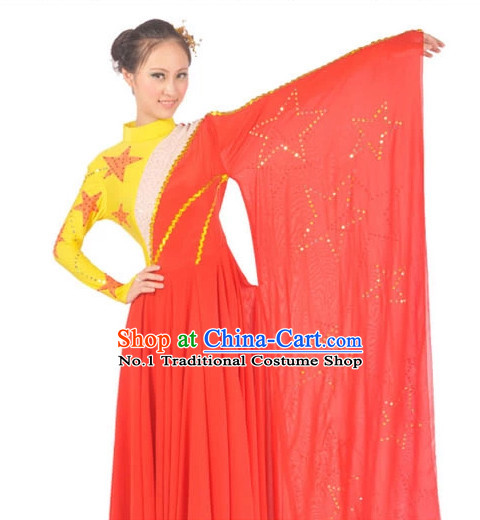 China Shop Chinese Five Stars Flag Dance Attire for Women