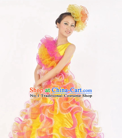 China Shop Chinese Yellow Dance Attire for Women