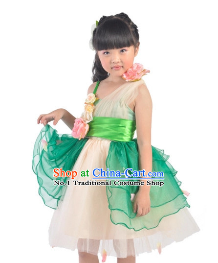 Custom Made Chinese Kid Dance Costumes Ballerina Costume Burlesque Costumes Salsa Costumes