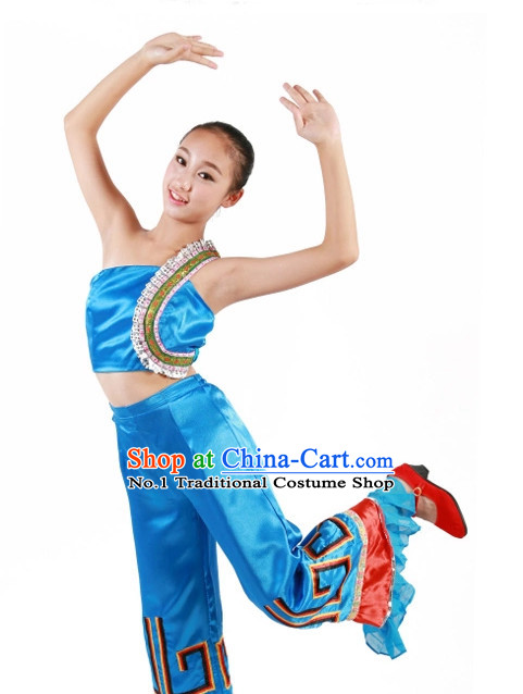 Custom Made Chinese Ethnic Group Dance Costumes for Teenagers