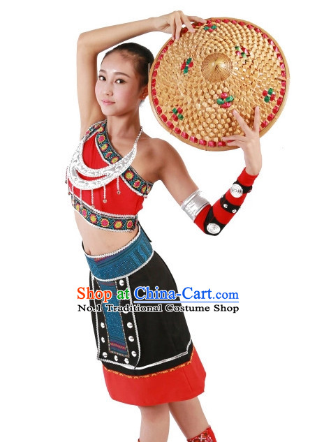 Custom Made Chinese Bamboo Hat Dance Costumes for Girls
