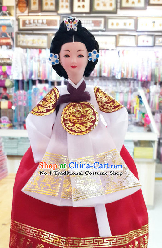 Korean Traditional Empress Silk Figurine Decorative Arts