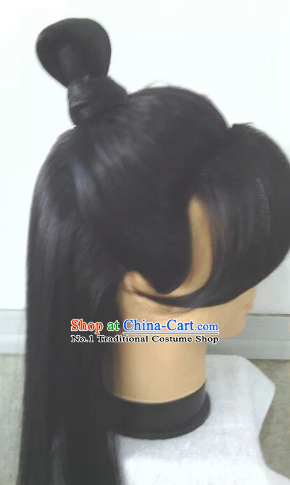 China Traditional Long Black Wig