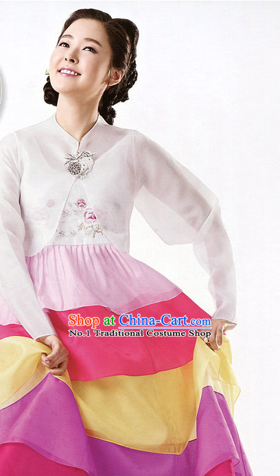 Korean Modern Hanbok Clothing Skirt Complete Set for Women