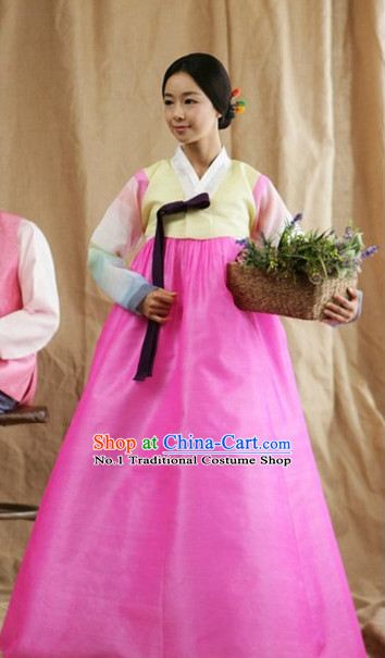 Korean Fashion National Costumes Hanbok Clothes Skirt Complete Set for Women