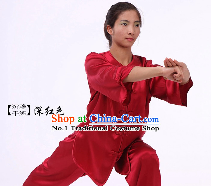 Plain Red Color Top Asian China Tai Chi Short Sleeves Uniform