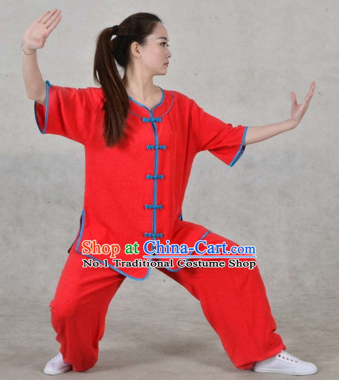 Plain Red Color Top Asian China Taiji Short Sleeves Uniform for Women