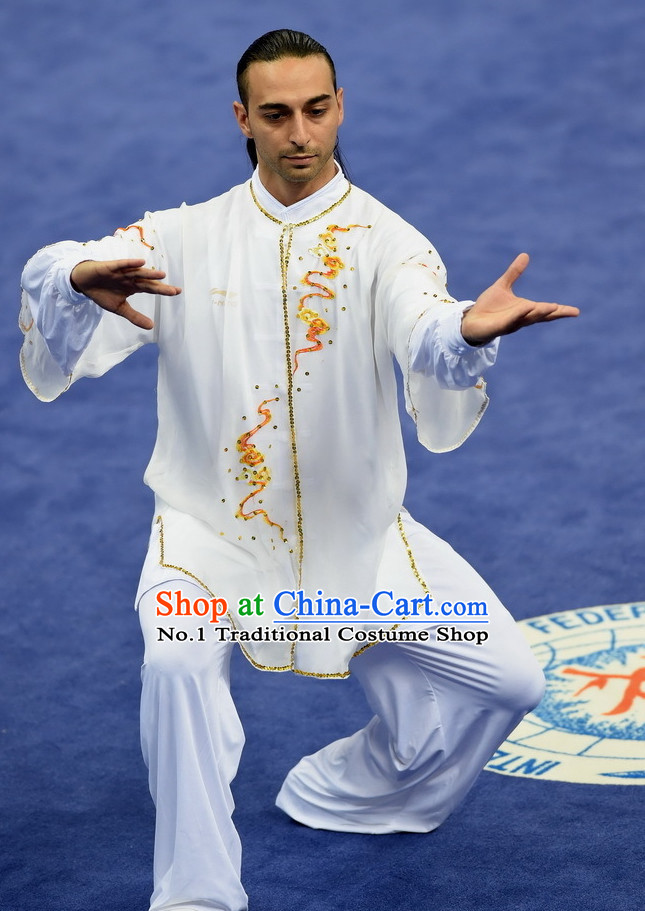 Top Asian Chinese Tai Chi Qi Gong Yoga Long Sleeves Uniform for Men